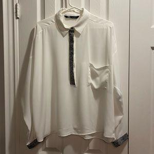 Zara oversized white top with leopard deta…